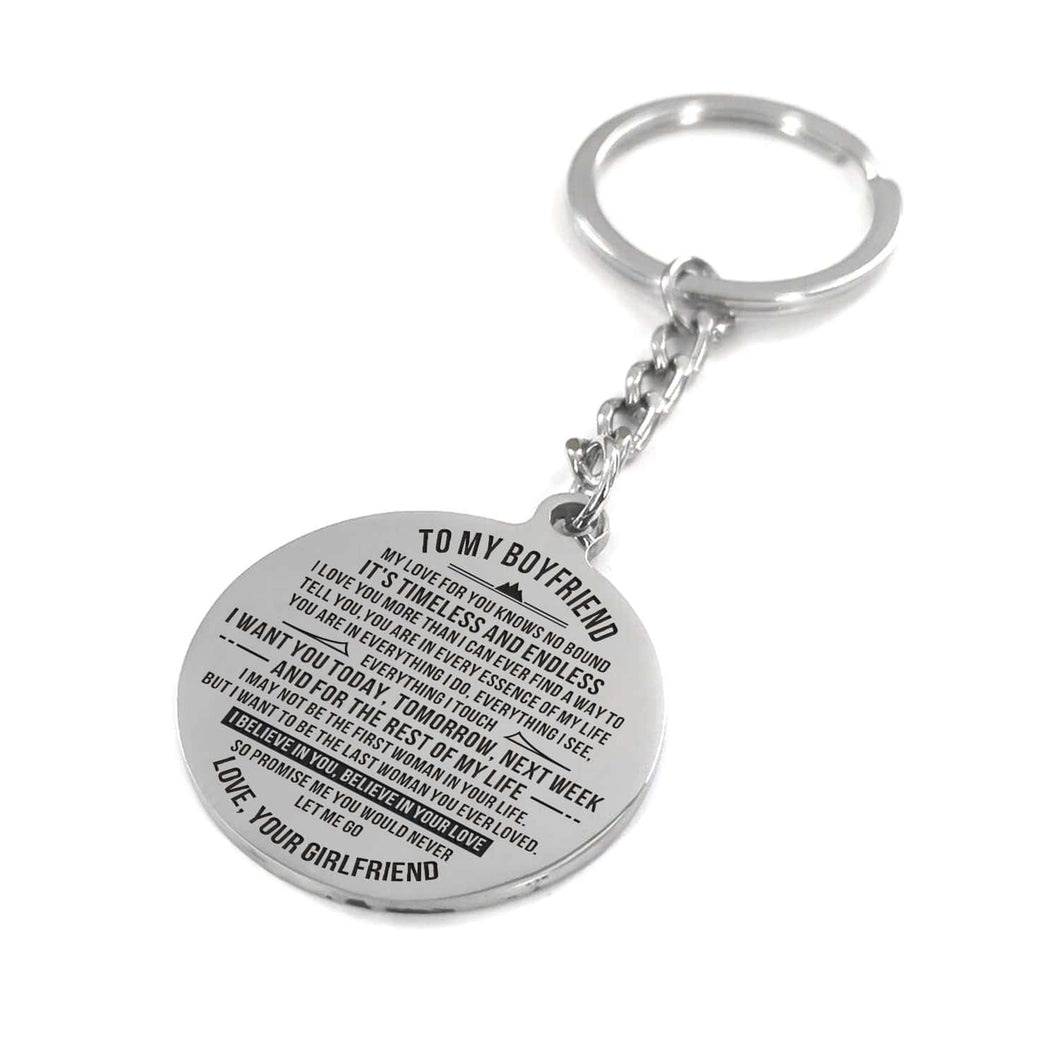 To My Boyfriend I Want You Everyday Engraved Keychain With Love Quotes