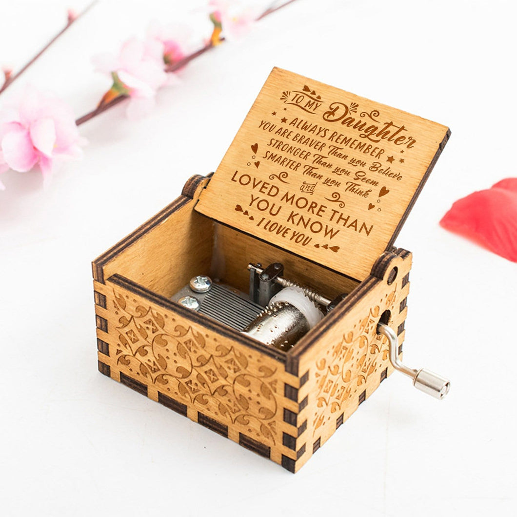 To My Daughter I Love You Engraved Wooden Music Box