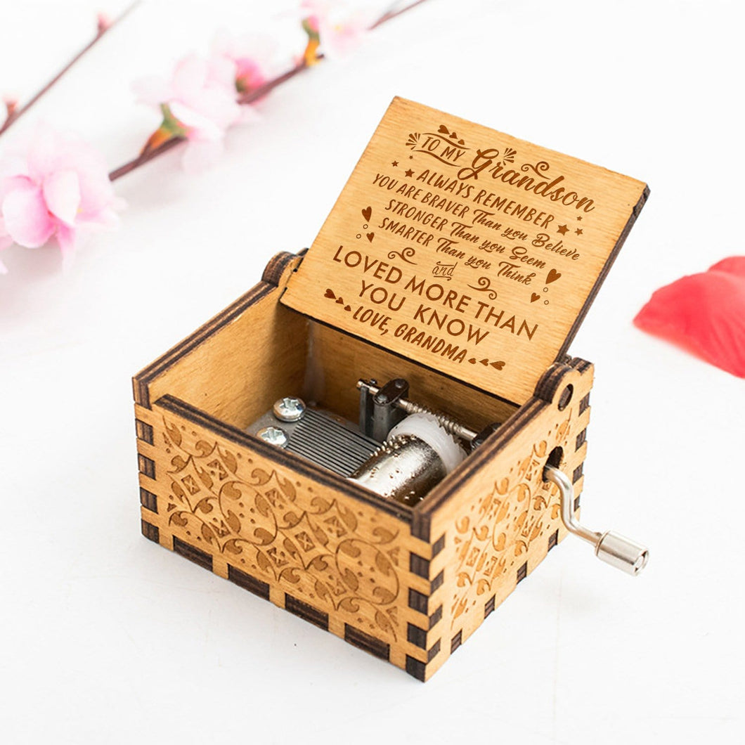 Grandma To Grandson You Are Loved More Than You Know Engraved Wooden Music Box