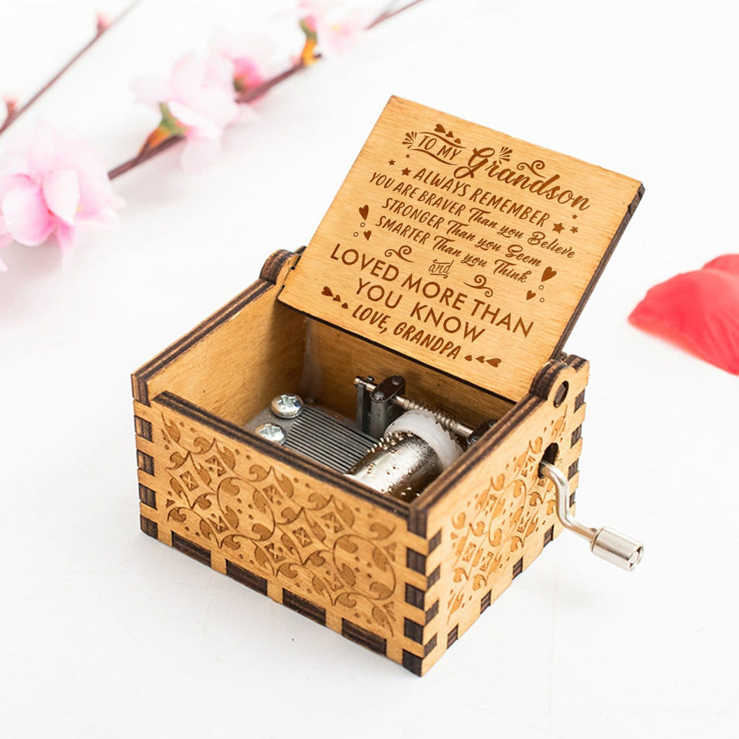 Grandpa To Grandson You Are Loved More Than You Know Engraved Wooden Music Box