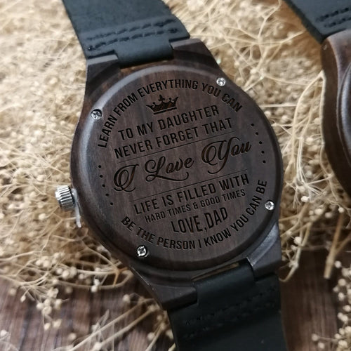 Watches Dad To Daughter - I Love You Engraved Wood Watch GiveMe-Gifts