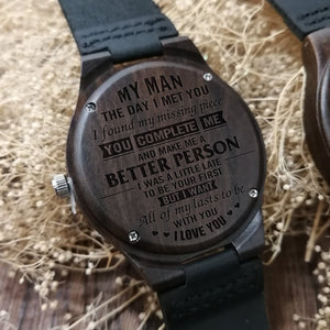 My Man You Complete Me Engraved Wooden Watch