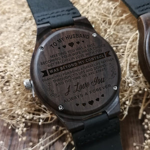 To My Husband - Falling In Love With You Engraved Wood Watch