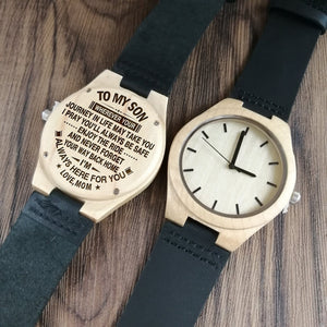 Mom To My Son I Always Here For You Engraved Wooden Watch