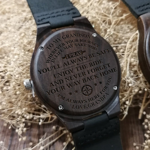 Grandpa To My Grandson I Am Always Here Engraved Wooden Watch