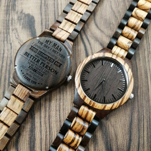 My Man The Day I Met You Engraved Wooden Watch