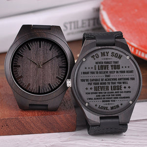 Mom To My Son You Will Never Lose Engraved Wooden Watch