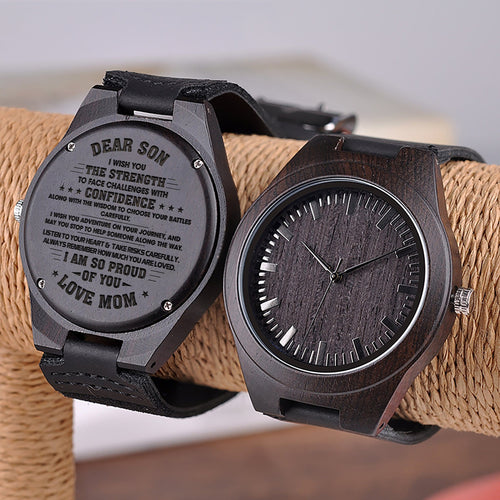 Mom To My Son I Am So Proud Of You Engraved Wooden Watch