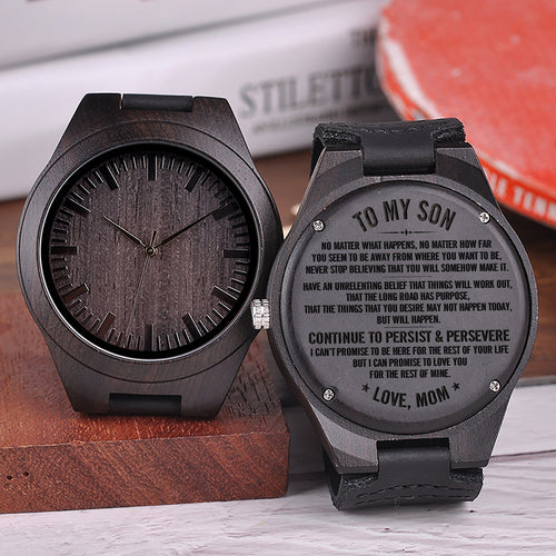 Mom To My Son Continue To Persist & Persevere Engraved Wooden Watch