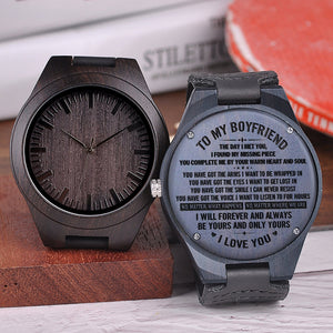 To My Boyfriend The Day I Met You Engraved Wooden Watch
