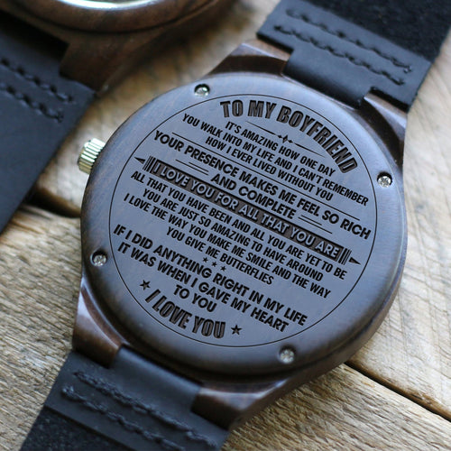 To My Boyfriend I Love You All Engraved Wooden Watch