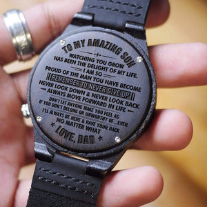 Dad To My Son Remember To Never Give Up Engraved Wooden Watch
