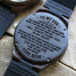 Mom To My Son I Will Always Carry You Engraved Wooden Watch