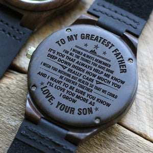 Son To Greatest Father - I Love You More Engraved Wood Watch