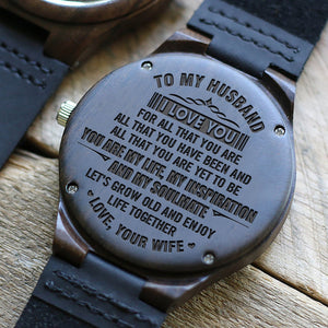 To My Husband You Are My Life Engraved Wooden Watch