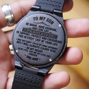 Mom To My Son I Am Always With You Engraved Wooden Watch