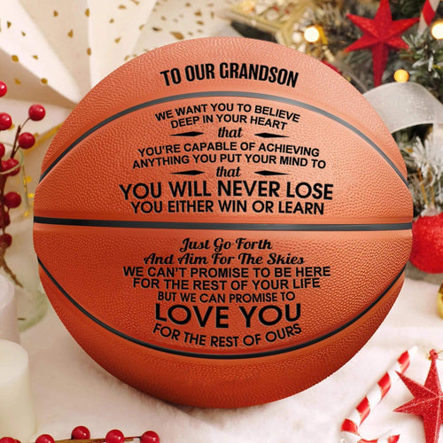 To Our Grandson - You Will Never Lose Engraved Basketball