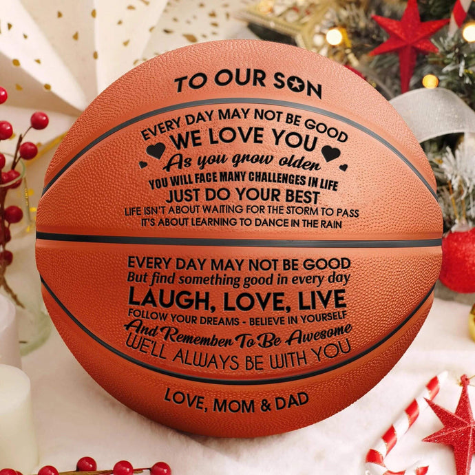 To Our Son - I Love You Engraved Basketball