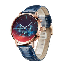 Men's watch with dark blue leather design