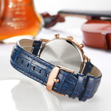 The leather watchband is made from the beautiful dark blue leather design and buckle-type clasp