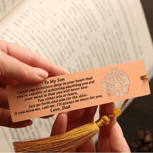 Bookmark Dad To Son - I Will Always Be There For You Personalized Bookmark With Tassel Copper GiveMe-Gifts
