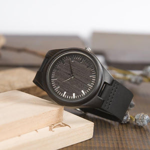 To My Fiance - I Will Be At Your Side Engraved Wood Watch