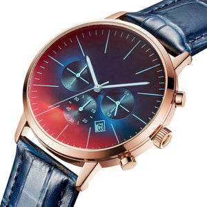 The watch dial is luxurious style with mixing dark blue and red color design