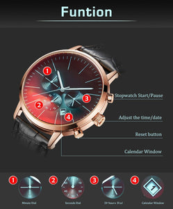 The engraved watch is included with minute dial, seconds dial, 24-hours dial and calendar window