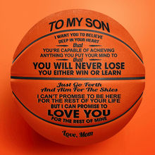 Mom To My Son You Will Never Lose Engraved Basketball