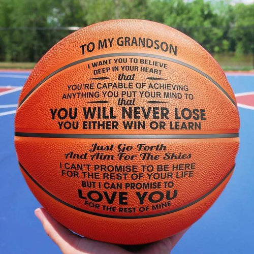To My Grandson You Will Never Lose Engraved Basketball