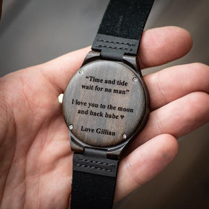 Personalized Loving Messages Engraved Wooden Watch