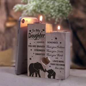 Mom To Daughter - You Are Loved More Than You Know Wooden Candle Holders