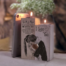 To My Man - I Love You Wooden Candle Holders