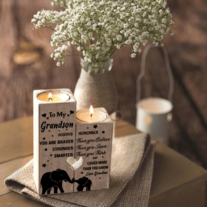 Grandma To Grandson - You Are Loved More Than You Know Wooden Candle Holders