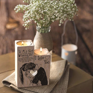 To My Girl - I Love You Wooden Candle Holders