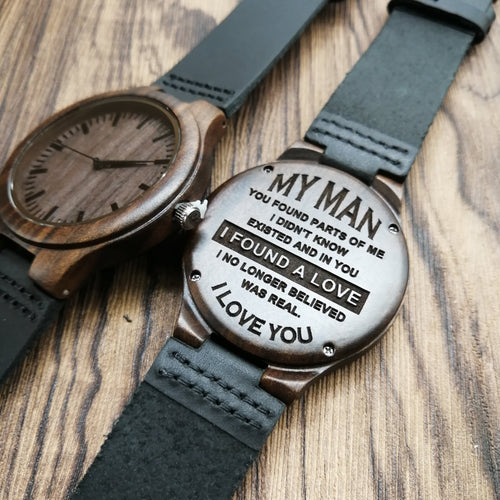 My Man I Found A Love Engraved Wooden Watch