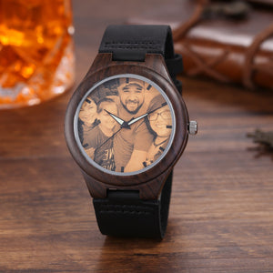 Personalized Loving Photo Engraved Wooden Watch