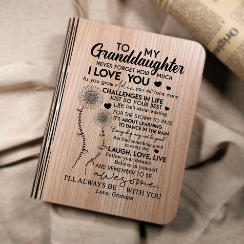 Grandpa To My Granddaughter I Will Always Be With You LED Folding Book Lamp