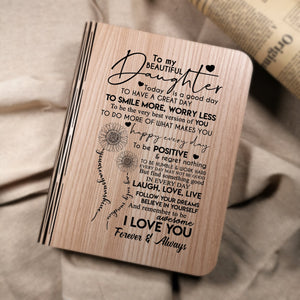 To My Daughter I Love You Forever And Always LED Folding Book Lamp
