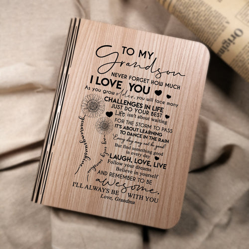 Grandma To My Grandson I Will Always Be With You LED Folding Book Lamp