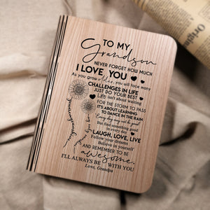 Grandpa To My Grandson I Will Always Be With You LED Folding Book Lamp