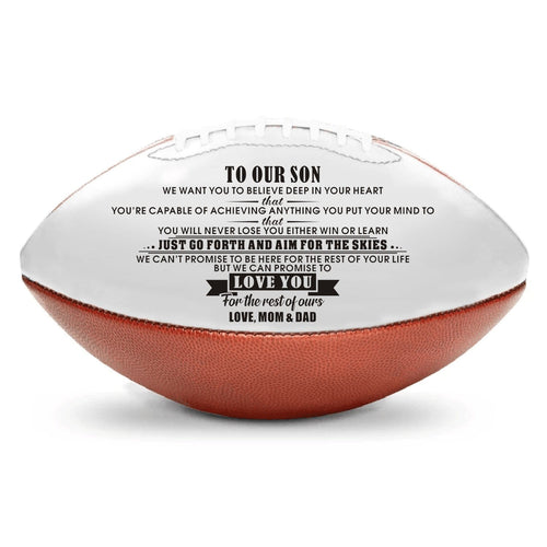 American Football To Our Son - We Can Promise To Love You Engraved American Football GiveMe-Gifts