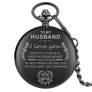 To My Husband You Are My Everything Engraved Pocket Watch