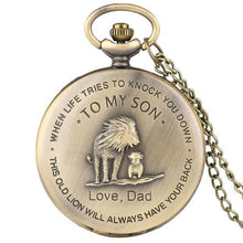 Dad To My Son I Will Always Have You Back Bronze Vintage Pocket Watch