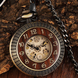 Solid Wood Mechanic Gear Hollow Vintage Pocket Watch
