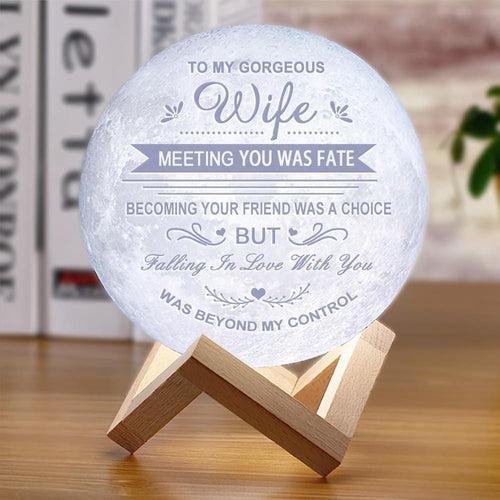 To My Wife Meeting You Was Fate - 3D LED Engraving Moon Lamp