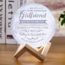 To My Girlfriend Meeting You Was Fate - 3D LED Engraving Moon Lamp