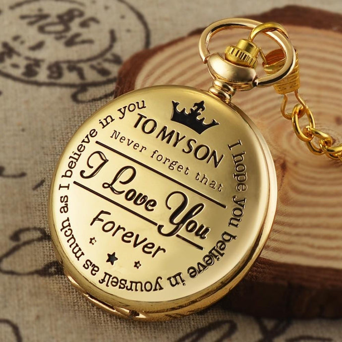 To My Son I Love You Gold Vintage Pocket Watch