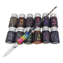Starry Sky Galaxy Comet Glass Dip Pen Set With Twelve Colors