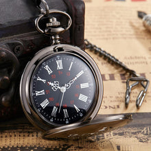 I Love You Till The End Of Time Black Engraved Pocket Watch